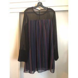 BCBGeneration stripe mini dress w mesh sleeves